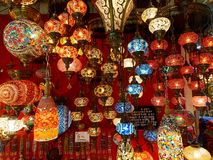 Oriental turkish lanterns in Grand Bazaar - Istanbul, Turkey Royalty Free Stock Images