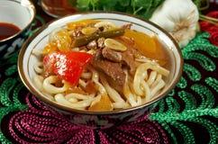 Oriental uzbek soup lagman  - Uzbek cuisine Royalty Free Stock Photography