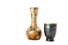 Oriental vase. Isolated on the white background Royalty Free Stock Image