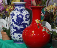 Oriental vases on display. Royalty Free Stock Photo