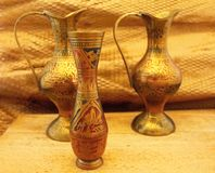 Oriental vases. On wooden board Royalty Free Stock Images
