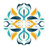 Oriental vector round ornament with arabesques elements Royalty Free Stock Photos