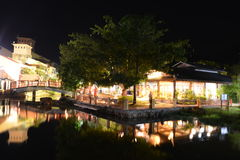 Oriental Village at night Royalty Free Stock Photos