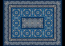 Oriental vintage carpet with ornament of blue and gray shades Stock Image