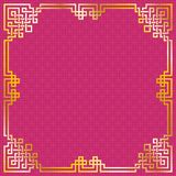 Oriental vintage gold frame on red / purple pattern background. For chinese new year celebration card, poster, banner or flyer, vector illustration royalty free illustration