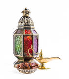 Oriental vintage light lantern and dates fruits Royalty Free Stock Photography
