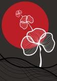 Oriental white plant, red sun stock illustration