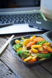 Vegetable oriental food. Oriental wok vegetables to eat at work Stock Images