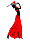 Oriental woman dancing with sword illustration. Royalty Free Stock Photos