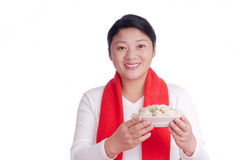 Oriental woman Hold a plate dumplings Royalty Free Stock Image