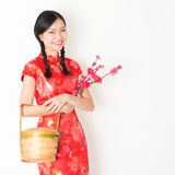 Oriental woman in red cheongsam holding gift basket Stock Photography