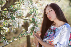 Oriental woman in spring light Stock Photos
