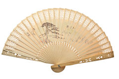 Oriental wooden chinese fan Royalty Free Stock Images