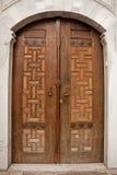 Oriental wooden door. Oriental ornament solid wooden door Stock Photography