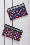 Orientalische Handtaschen mit dekorativer Stickerei Stockfotografie
