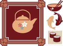 Orientalische - Japaner - Nahrungsmittelikonen Lizenzfreie Stockbilder