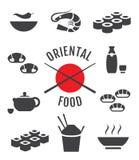 Orientalische japanische Lebensmittelikonen Stockbild