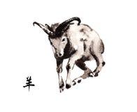 Orientalische Tintenmalerei der Ziege, sumi-e Stockbilder