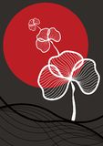 Orientalische weiße Anlage, rote Sonne Stockfotos