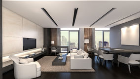Orientalische Wiedergabe Wohnzimmer/3D Stockfotos