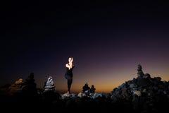 Orientalische Yogasitzung auf Teneriffa Lizenzfreie Stockfotos