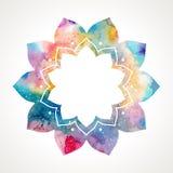 Orientalischer Rahmenvektor der Aquarellblume lizenzfreie abbildung