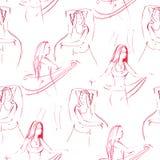 Orientalisches danser nahtloses Muster Schöne Karte der Verzierung mit MädchenBauchtanz Geometrische Elementhand gezeichnet stockbild