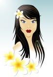Orientalisches Mädchen und weiße Blumen lizenzfreies stockbild