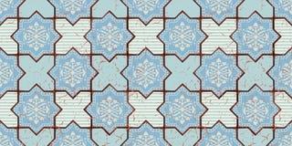 Orientalisches nahtloses Muster des Vektors Realistischer Weinlese-Marokkaner, portugiesische achteckige Fliesen Stockbilder