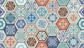Orientalisches nahtloses Muster des Vektors Realistischer Weinlese-Marokkaner, portugiesische sechseckige Fliesen Stockbilder