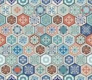Orientalisches nahtloses Muster des Vektors Realistischer Weinlese-Marokkaner, portugiesische sechseckige Fliesen Lizenzfreies Stockbild