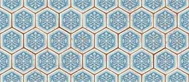 Orientalisches nahtloses Muster des Vektors Realistischer Weinlese-Marokkaner, portugiesische sechseckige Fliesen Lizenzfreie Stockbilder
