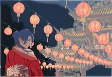 Orientalisk dekorerad tempellykta Royaltyfria Bilder
