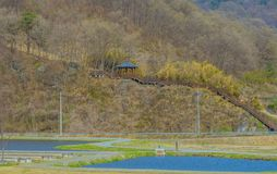 Orientalisk gazebo på sida av berget Royaltyfri Bild