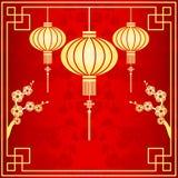 Orientalisk kinesisk lyktaillustration Royaltyfria Foton