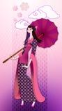 Orientalisk kvinna i kimono Royaltyfria Bilder