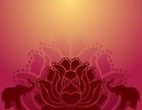 Orientalisk lotusblomma- och elefantbakgrund stock illustrationer