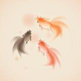 orientalisk målningsstil för guldfisk Royaltyfri Foto