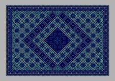 Orientalisk matta för lyxig tappning med prydnaden av blåa skuggor Arkivbild