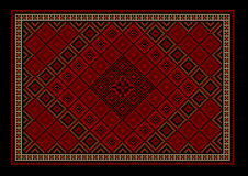 Orientalisk matta för rödbrun lyxig tappning med den kulöra prydnaden på gränsen Arkivfoton