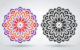 Orientalisk modell av mandalaen blom- prydnad Islamisk, arabisk indisk stil Dekorativ beståndsdel för ljus tappning vektor illustrationer