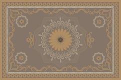 Orientalisk monophonic beige filt för tappning med smutsiga gula och bruna kalligrafimodeller stock illustrationer