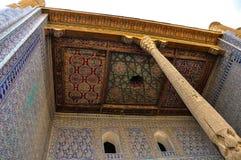 Orientalisk prydnad på väggar av historiska komplexa Ichan Kala, Khiv Royaltyfri Fotografi