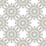 Orientalisk sömlös geometrisk tygmodell Etnicitetprydnad Dekorativa rundor bakgrund, textur som beläggas med tegel Cirklar mandal stock illustrationer