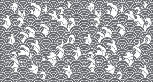 Orientalisk sömlös tapet för vattenvåg vektor illustrationer