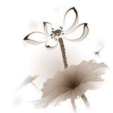 Orientalisk stil Lotus royaltyfri illustrationer