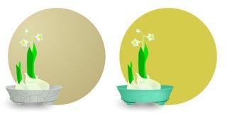Orientalisk stilblomkruka med waterlily Royaltyfria Foton