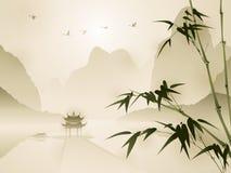 Orientalisk stilmålning, bambu i stillsam plats Arkivbild