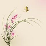 Orientalisk stilmålning, orkidéblommor och fjäril Arkivbilder