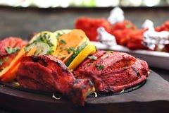 Orientalisk ?stlig kokkonst Tandoori som ?r feg i en kryddig marinad fotografering för bildbyråer